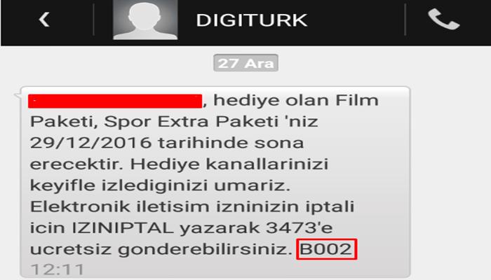 b002 b003 b001 sms sonundaki kod nedir